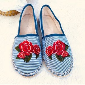 CHARTER CLUB Espadrille Embroider Rose stripe Flat